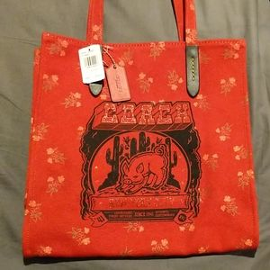 LUNAR NEW YEAR CANVAS TOTE WITH PIG MOTIF